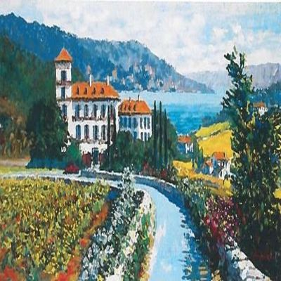 KERRY HALLAM - Auberge du Soleil - Embellished Serigraph on Canvas - 22x44 inches