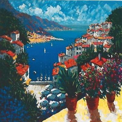 KERRY HALLAM - Sur le Port - Embellished Serigraph on Canvas - 27x32 inches