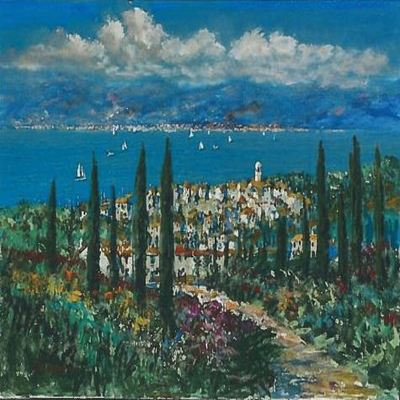 KERRY HALLAM - La Cote d'Azur - Acrylic on Canvas - 30x40 inches