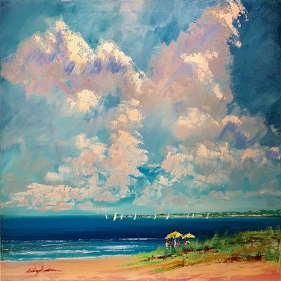 KERRY HALLAM - Beachscape - Acrylic on Canvas - 32X36 inches