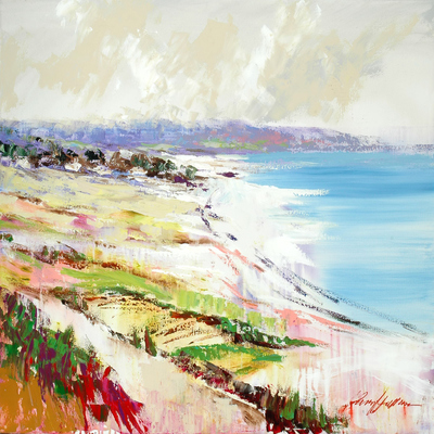 KERRY HALLAM - Beach Panorama - Acrylic on Canvas - 30X40 inches
