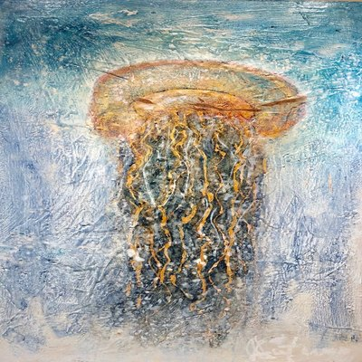 AUTUMN de FOREST - Encaustic Jellyfish - Encaustic on Panel - 48x24 inches