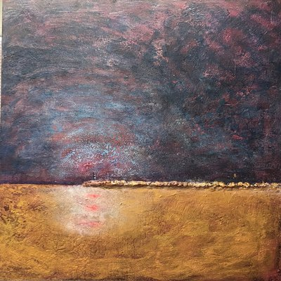 Title: La Jetee , Size: 48x36 inches , Medium: Encaustic on Panel