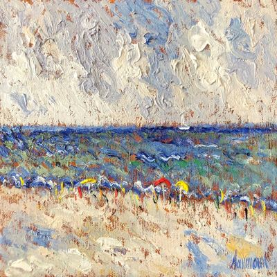 SAMIR SAMMOUN - The Beach - Oil on Canvas - 12x16 inches