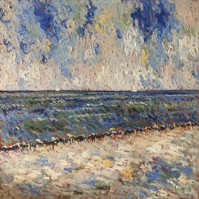 SAMIR SAMMOUN - At The Beach - Oil on Canvas - 30x36 inches