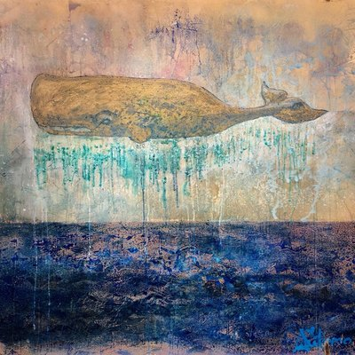 AUTUMN de FOREST - Whale, What's Next? - Encaustic on Panel - 48x48 inches