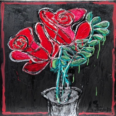 AUTUMN de FOREST - Dueling Roses - Acrylic on Panel - 29x24 inches