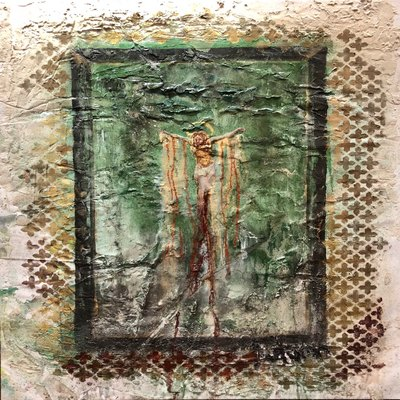 AUTUMN de FOREST - Resurrection (Excavation) - Plaster on Canvas - 48x36 inches