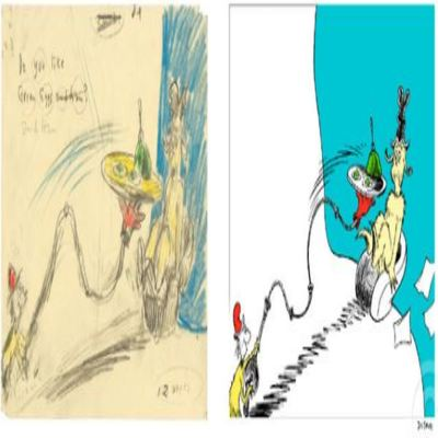 DR. SEUSS - Do You Like Green Eggs and Ham Diptych - Fine Art Pigment Print on Acid-Free Paper - 14.25x32.5 inches