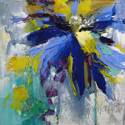 NATALYA ROMANOVSKY - Flower Power - Oil on Canvas - 16x16 inches