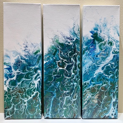 CLAIRE MAGUIRE - Breaching Triptych - Acrylic on Canvas - 4 x 12 inches each