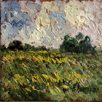 SAMIR SAMMOUN - Green Wheat Field - Oil on Canvas - 8 x 10 inches