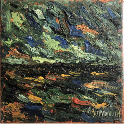 SAMIR SAMMOUN - Sea by Night - Oil on Canvas - 8 x 10 inches