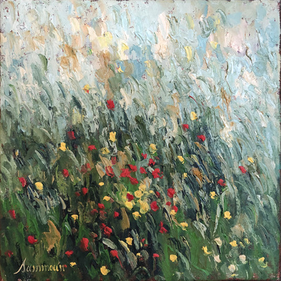 SAMIR SAMMOUN - Poppies - Oil on Canvas - 16 x 16 inches