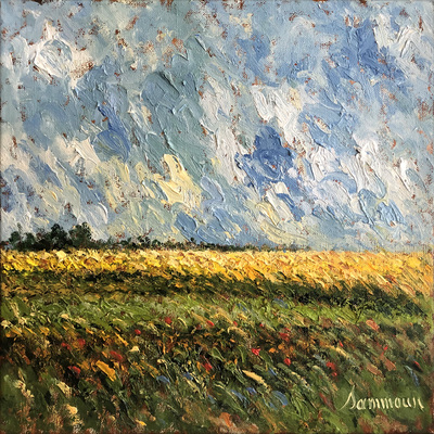 SAMIR SAMMOUN - Mustard Field - Oil on Canvas - 16 x 16 inches