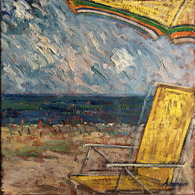SAMIR SAMMOUN - At the Beach Under the Umbrella - Oil on Canvas - 20 x 16 inches