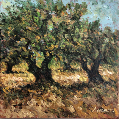 SAMIR SAMMOUN - October Olive Trees - Oil on Canvas - 20 x 16 inches