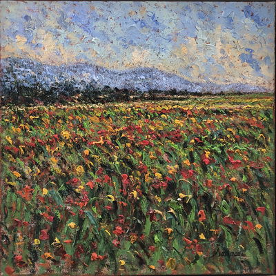SAMIR SAMMOUN - Field of Poppies - Oil on Canvas - 20 x 20 inches