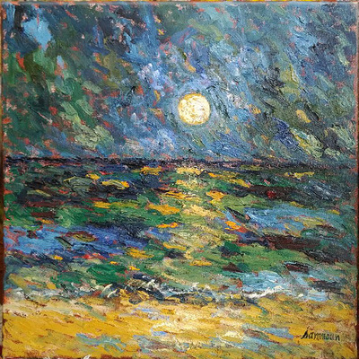 SAMIR SAMMOUN - Moonrise on the Sea - Oil on Canvas - 24 x 20 inches