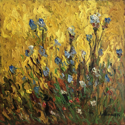 SAMIR SAMMOUN - Wild Blue Flowers and Sun - Oil on Canvas - 24 x 24 inches