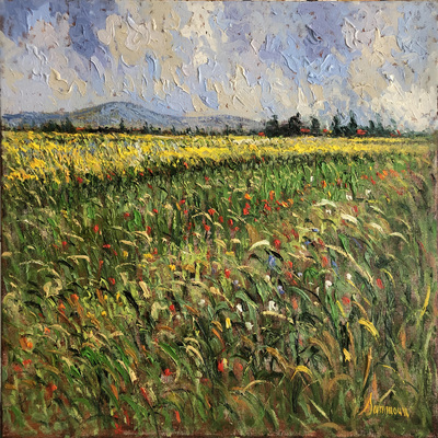SAMIR SAMMOUN - Three Pistols-Green Wheat Field - Oil on Canvas - 24 x 30 inches