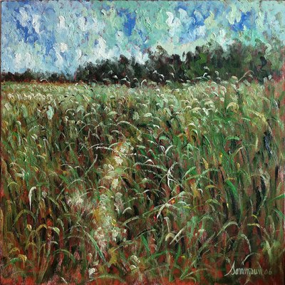 SAMIR SAMMOUN - Green Wheat Field with Wind - Oil on Canvas - 24 x 30 inches