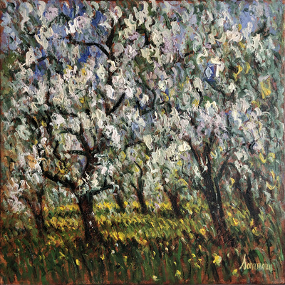 SAMIR SAMMOUN - Apple Trees in Bloom - Oil on Canvas - 24 x 30 inches