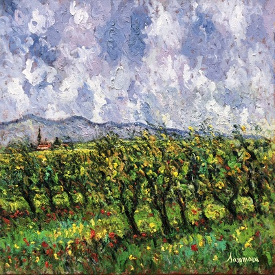 SAMIR SAMMOUN - Tuscany Vineyard - Oil on Canvas - 24 x 30 inches