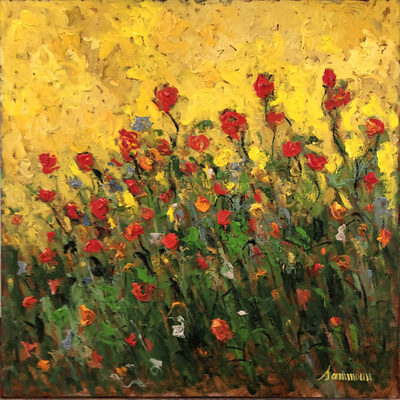 SAMIR SAMMOUN - Poppies and Sun - Oil on Canvas - 30 x 24 inches