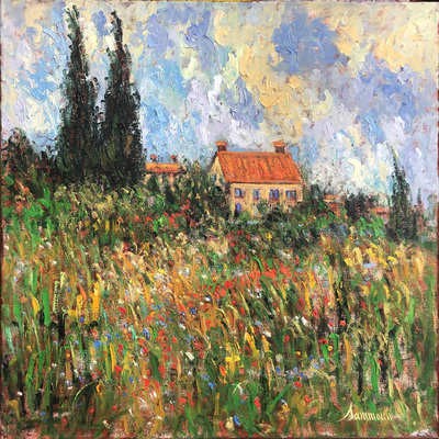 SAMIR SAMMOUN - House and Garden - Oil on Canvas - 30 x 30 inches