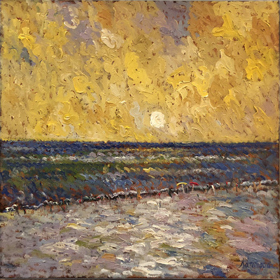 SAMIR SAMMOUN - Sunset on the Beach - Oil on Canvas - 30 x 30 inches