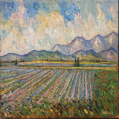 SAMIR SAMMOUN - Lavender Field - Oil on Canvas - 30 x 36 inches