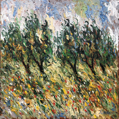 SAMIR SAMMOUN - Young Olive Trees & Poppies - Oil on Canvas - 30 x 36 inches