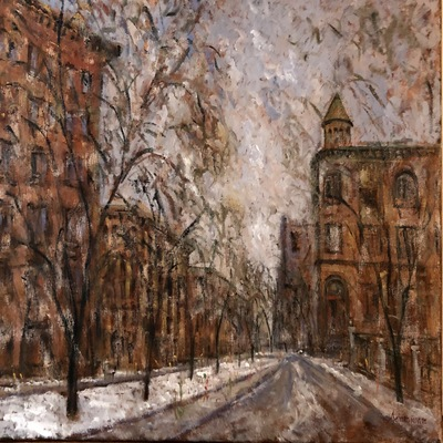 SAMIR SAMMOUN - Snow in the City - Oil on Canvas - 30 x 36 inches