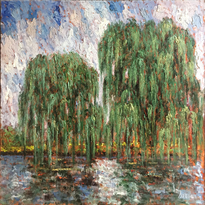 SAMIR SAMMOUN - Two Willows - Oil on Canvas - 30 x 40 inches