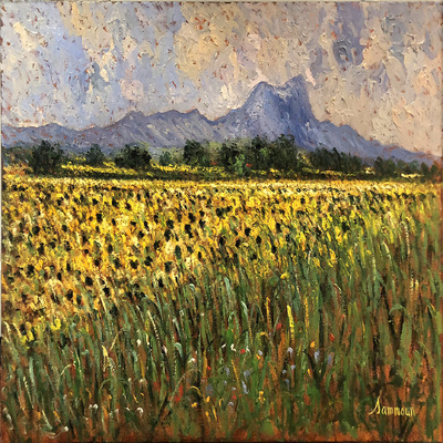 SAMIR SAMMOUN - Sunflower Field - Oil on Canvas - 30 x 40 inches