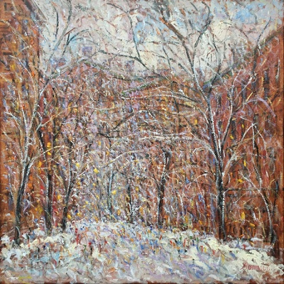 SAMIR SAMMOUN - NY Snow - Oil on Canvas - 36 x 36 inches