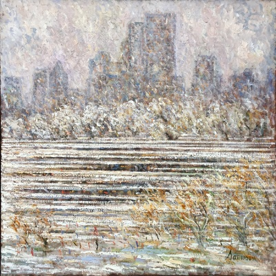 SAMIR SAMMOUN - View of Central Park - Oil on Canvas - 36 x 36 inches