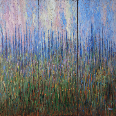 SAMIR SAMMOUN - Lavender Triptych - Oil on Canvas - 40 x 30 inches