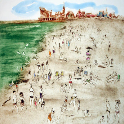 HELEN FRANK - Jersey Shore - Hand Colored Etching - 18 x 24 inches