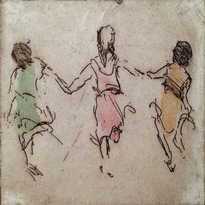HELEN FRANK - Summer Friends - Hand Colored Etching - 5 x 4 inches