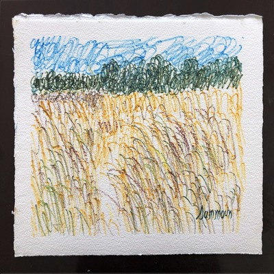 SAMIR SAMMOUN - Wheat Field and Olive Grove - Watercolor Pastel on Paper - 13x9.5 inches