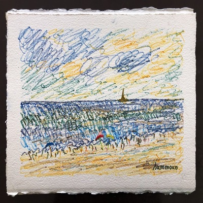 SAMIR SAMMOUN - The Beach - Watercolor Pastel on Paper - 13x9.5 inches