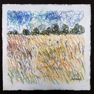 SAMIR SAMMOUN - Wheat Field - Watercolor Pastel on Paper - 19x13 inches