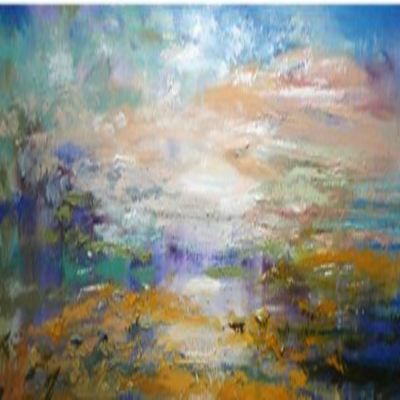 NATALYA ROMANOVSKY - Meditation on Orange - Oil on Canvas - 56 x 16 inches