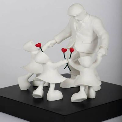 MACKENZIE THORPE - Three Times the Love - Cast Parian Sculpture - 9H x 8W x 8D