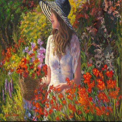 JANE SEYMOUR - The Artist in Her English Garden - Giclee on Canvas - 21 3/4 x 33 inches