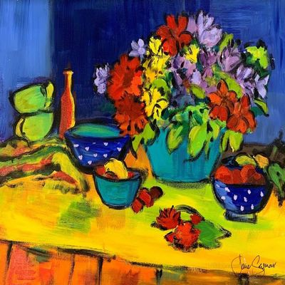 JANE SEYMOUR - Still-Life with Fruit and Flowers - Acrylic on Canvas - 18 x 24 inches