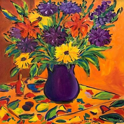 JANE SEYMOUR - Intense Summer Bouquet - Acrylic on Canvas - 24 x 20 inches