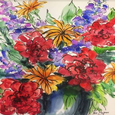 JANE SEYMOUR - Spring Fling Bouquet - Watercolor on Paper - 24 x 18 inches
